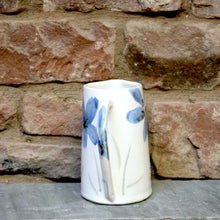 Load image into Gallery viewer, Large blue flowers jug vase - stoneware - ceramic - handmade