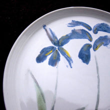 Load image into Gallery viewer, Made to order. Very Large Stoneware Ceramic Majolica Platter with Blue Flowers.