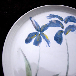 Made to order. Very Large Stoneware Ceramic Majolica Platter with Blue Flowers.