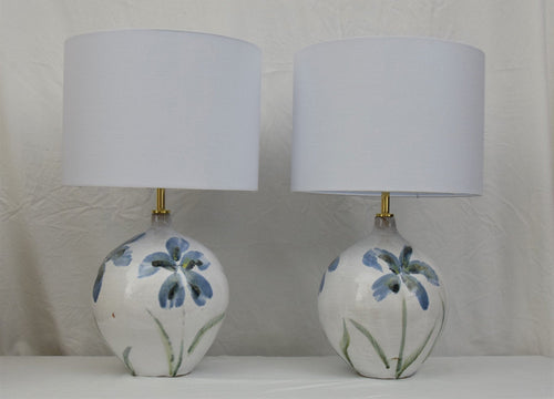 Pair of Handmade Lamp Bases Stoneware Ceramic Majolica Blue Flowers