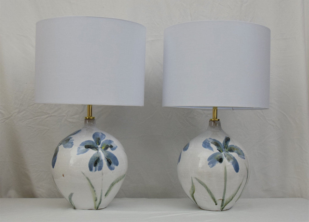 Pair of Handmade Lamp Bases Stoneware Ceramic Majolica Blue Flowers MADE TO ORDER