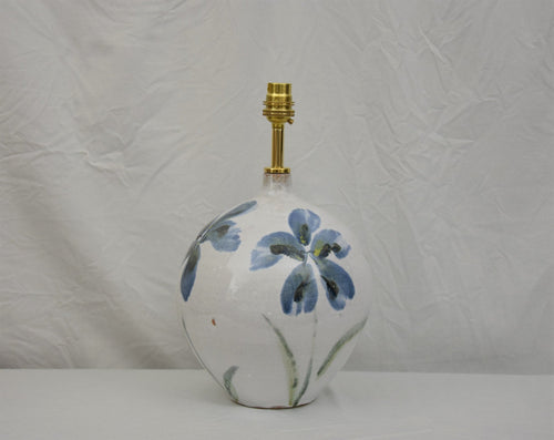 Handmade Lamp Base Stoneware Ceramic Majolica Blue Flowers