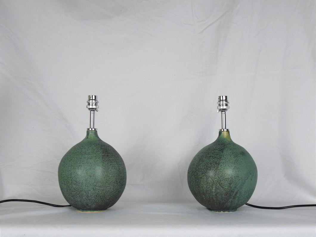 Pair of Handmade Lamp Bases Stoneware Ceramic Matt Green Glaze