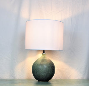 Handmade Lamp Base Stoneware Ceramic Matt Green Glaze