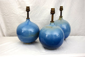Pair of Handmade Lamp Bases Stoneware Ceramic Glossy Blue Glaze