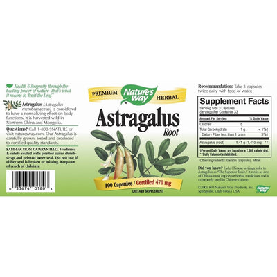 Astragalus, Root, Nature's Way, 470 mg, 100 capsule | Secom-DAGRINO.RO