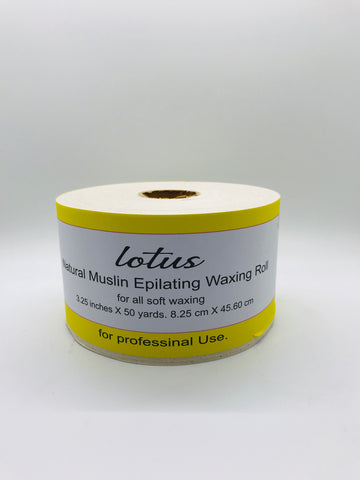 "Lotus Natural Waxing Muslin Roll | Wax Strip Natural Muslin Epilating - 3.25"" x 50 yards - CM Nails & Beauty Supply"