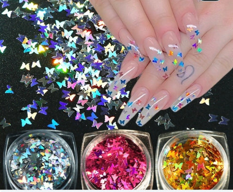 Nail Art Design - Iridescent Silver Butterfly Gems 3D Nails