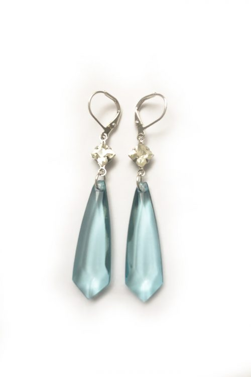 Ceci Punch Blue Lucite Drop Earrings
