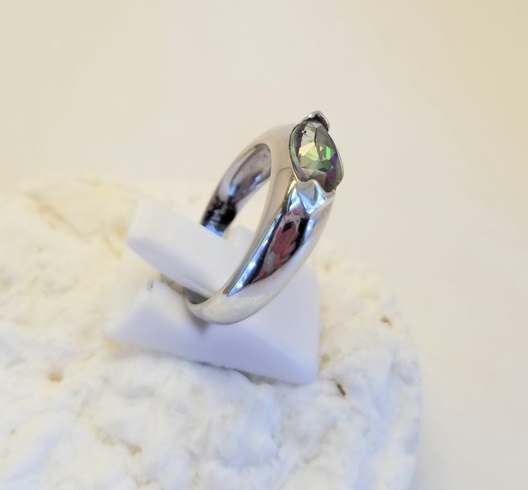 14k White Gold Mystic Topaz Ring