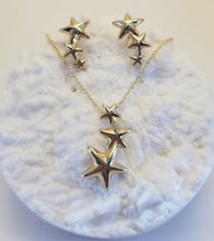 Load image into Gallery viewer, Cascading 14k Star Earrings