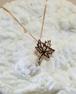 14k Rose Canadian Diamond Maple leaf Pendant