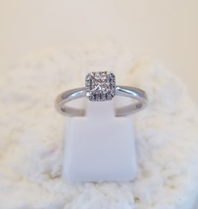 Canadian Rocks Princess Cut Halo Ring In 10k Gold
