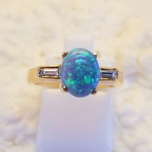 14k Yellow Australian Opal & Diamond Ring
