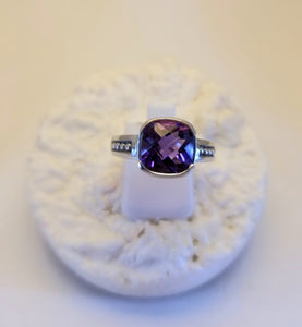 14k White Gold Cushion Cut Amethyst Ring