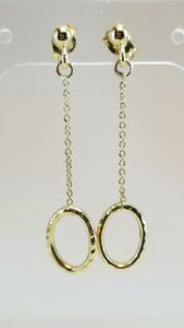 14k Hammered Circle Chain earrings