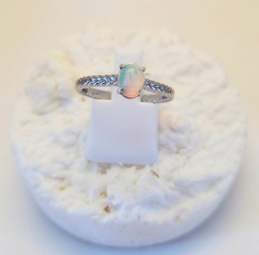Ethiopian Opal 10k White Rope Ring