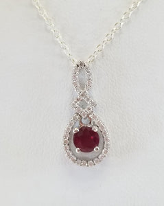 Ruby & Diamond Pendant in 10k White Gold