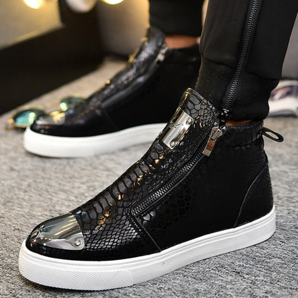 Luxury Designer Men High Top Microfibre Sneakers - Sole Edge