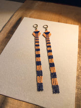 Load image into Gallery viewer, Peach + Deepest Cobalt Beaded Fringe Earrings