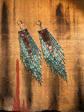 Load image into Gallery viewer, Plum + Aqua Beaded Fringe Earrings