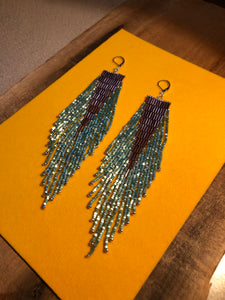 Plum + Aqua Beaded Fringe Earrings