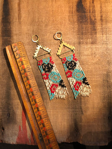 Impressionist Floral Beaded Fringe Earrings