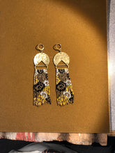 Load image into Gallery viewer, Impressionist Floral Beaded Fringe Earrings