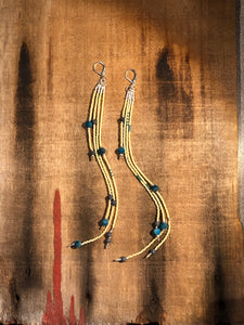 Beaded Diffuser Earrings - Kyanite + Vetiver