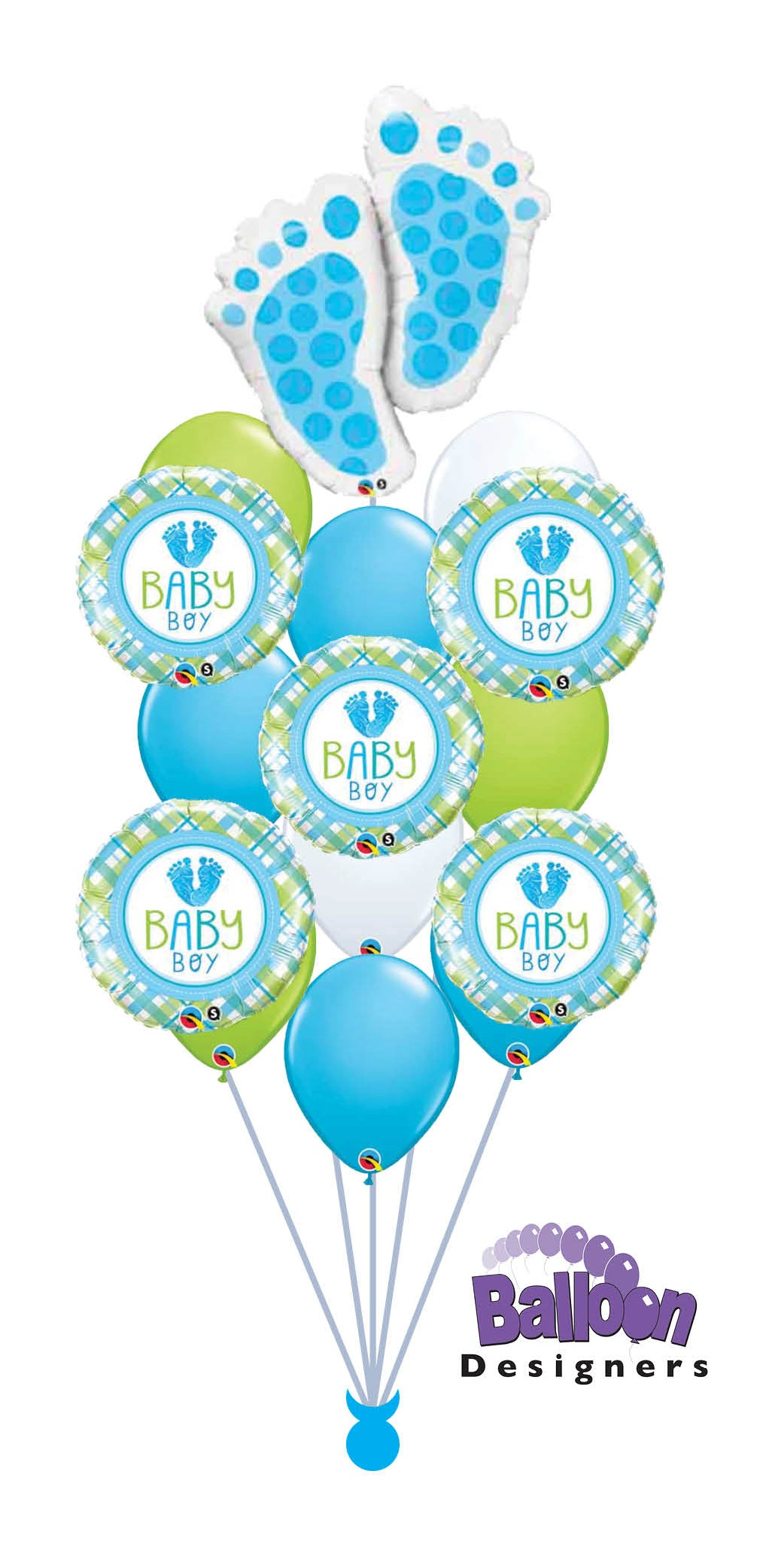 Baby Boy Footprints Balloon Bouquet