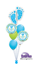 Load image into Gallery viewer, Baby Boy Footprints Balloon Bouquet