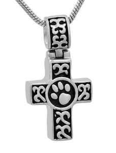 Stainless Steel Cross and Paw Print Pendant w/ Chain