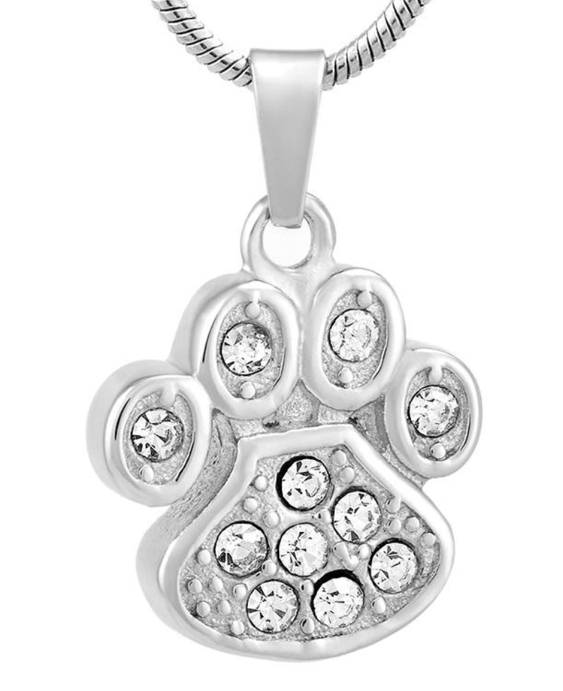 Stainless Steel Urn Clear Stones Paw Print Pendant