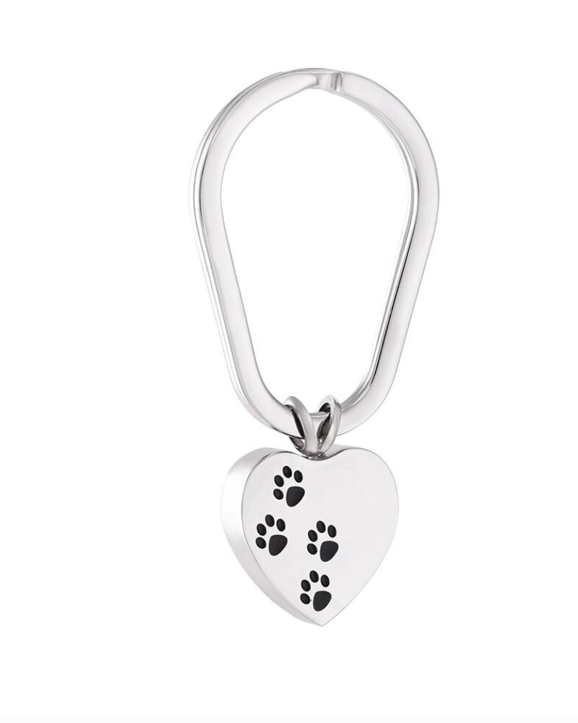 Stainless Steel Urn Key Chain Heart Shaped w/ Pawprints