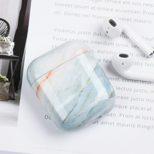 Light Blue Marble Airpod Case