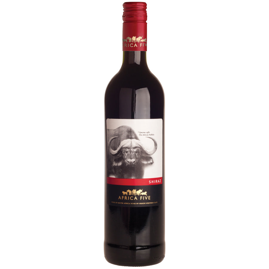 Stellenview Wine's Africa Five Shiraz (2018). A classic Shiraz, filled with layers of white and black pepper, some floral and dark fruit note finishes with subtle hints of vanilla.