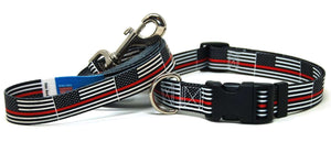Thin Red Line Flag - Collar & Leash Set