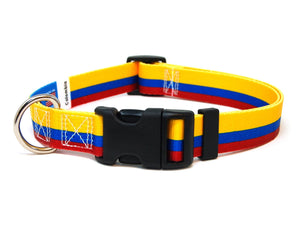 Colombia Flag Dog Collar | Great For National Holidays, Festivals, Parades | Extra Small to Extra Large Size