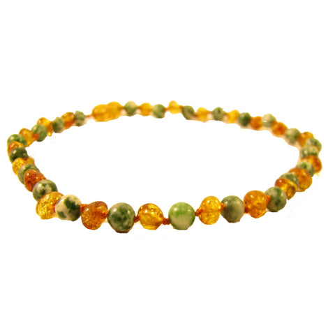 "The Amber Monkey 12-13"" Semi-Precious Gemstone & Baltic Amber  Necklace"