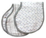 Buttons 100% Muslin Burp Cloth/Bib Combo- Blue/Gray