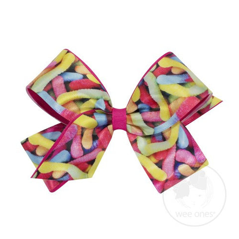 Wee Ones Candy Print Bow with Grosgrain Overlay