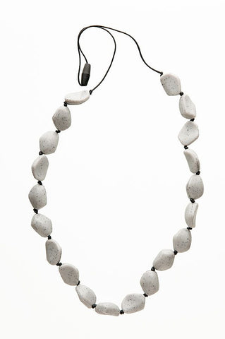smart mom teething necklace grey gemstones