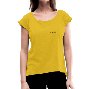 Women's Roll Cuff T-Shirt - mustard yellow