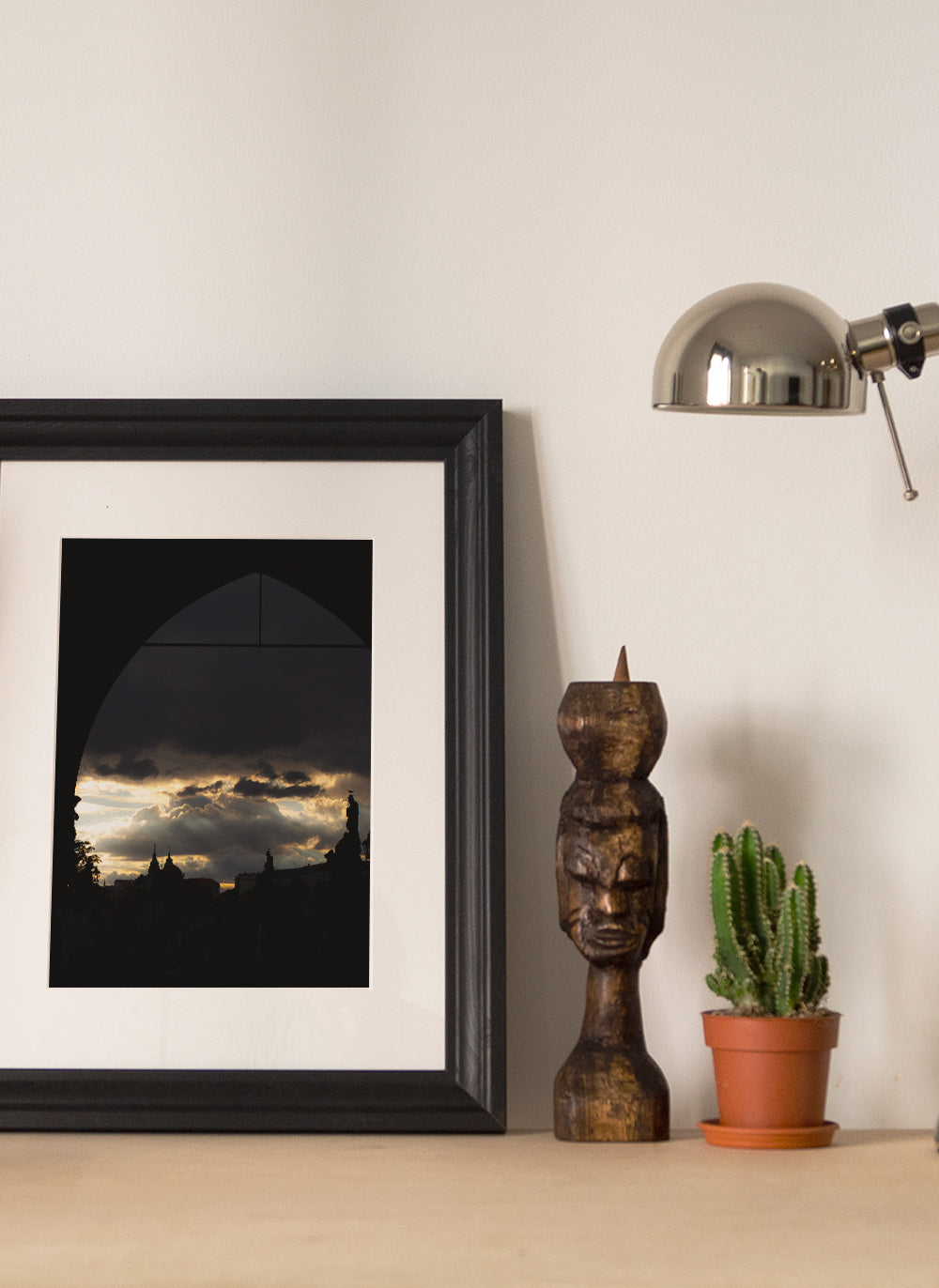 Framed art print with cactus