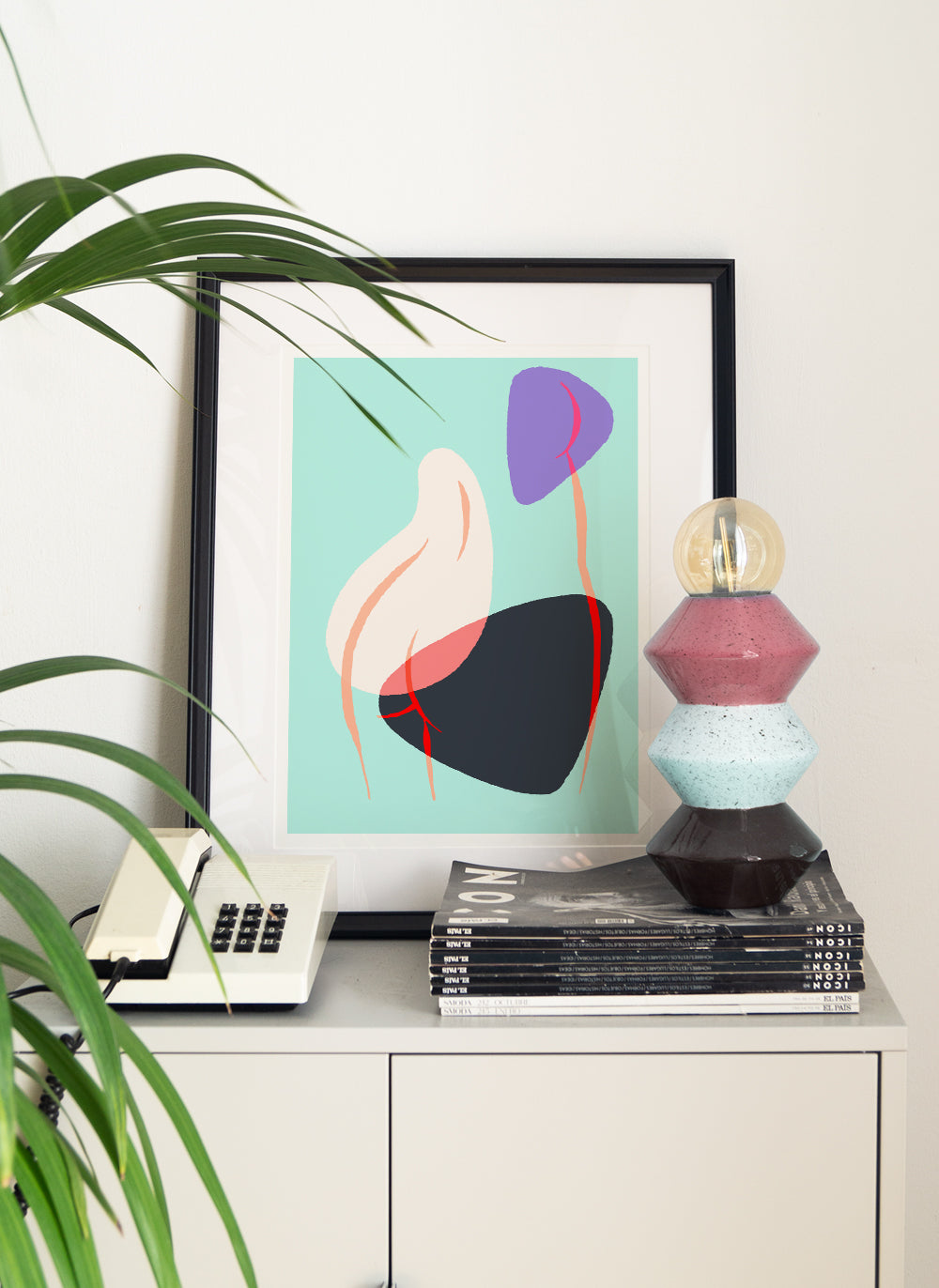 framed female art print