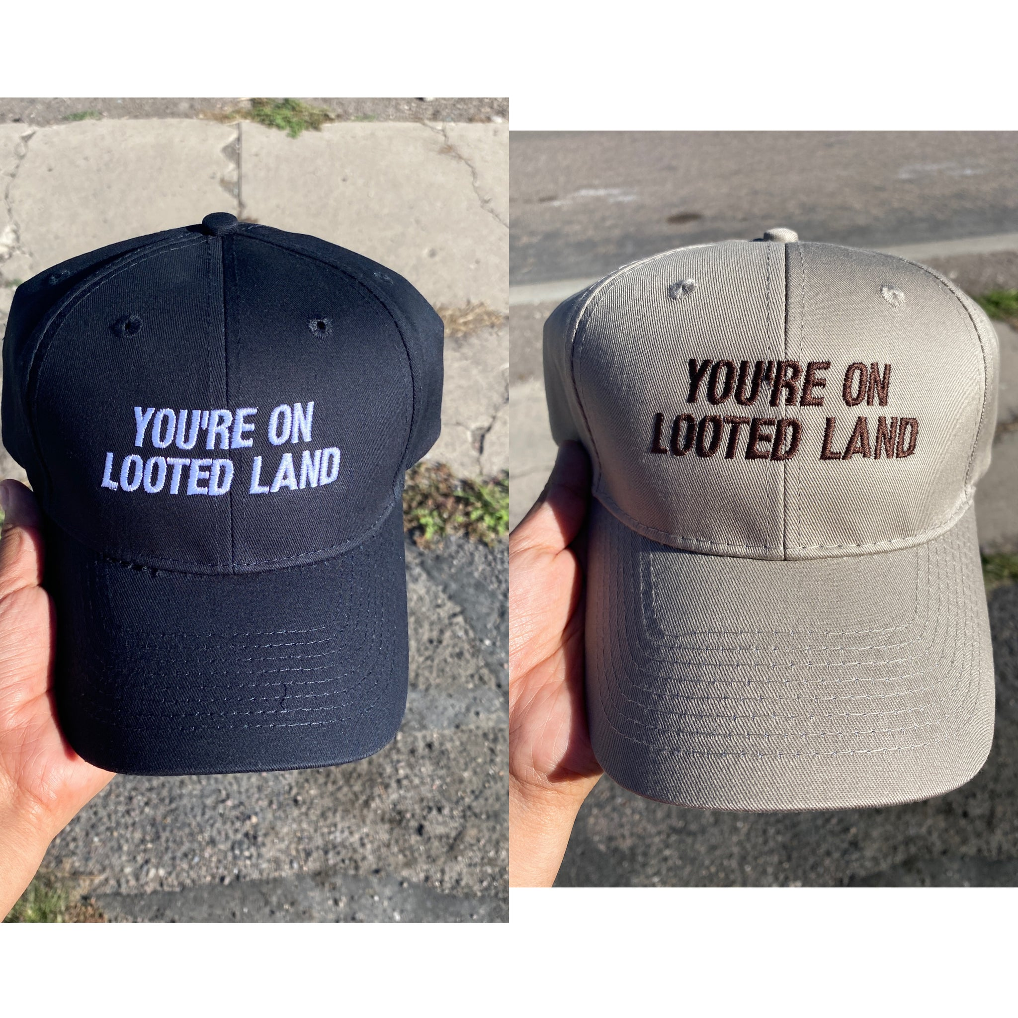 YOU'RE & WE'RE Looted Land Dad Hats-Ready to ship!