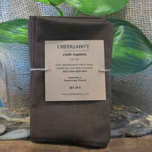 "Cotton Napkins Adult, 14""x14"" Set of 4, Chocolate Brown Linen/Cotton Blend"