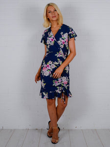 Floral Print Ruched Front Wrap Dress - Blue