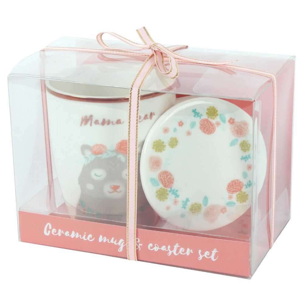 Mama Bear Ceramic Mug & Coaster Set