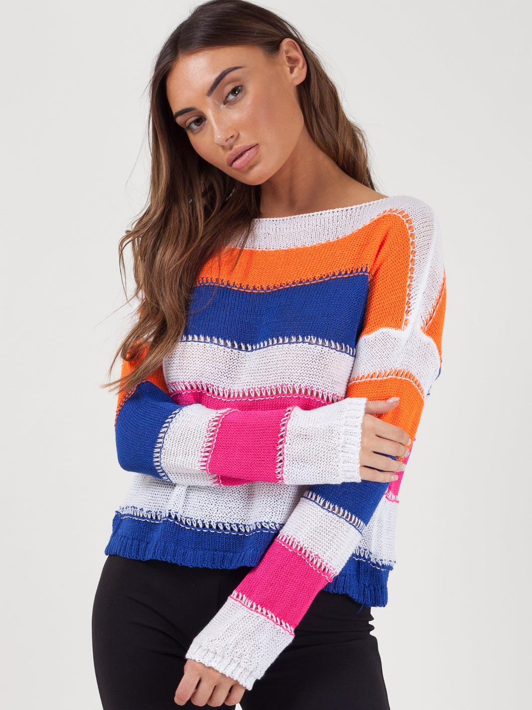 Striped Long Sleeve Shabby-Chic Jumper